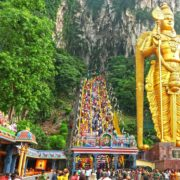 The huge 42.7m tall statue (Lord Murugan) at the front of the Batu. The cave is one of the most popular Hindu shrines outside India, and is dedicated to Lord Murugan. It is the focal point of Hindu festival of Thaipusam in Malaysia.